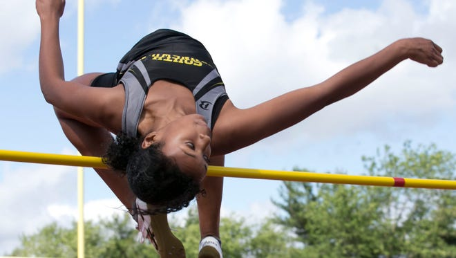South Brunswick's Courtney Campbell wins the high jump at the NJSIAA Meet of Champions on Wednesday.