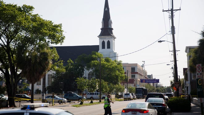 The steeple of Emanuel AME Church in Charleston.