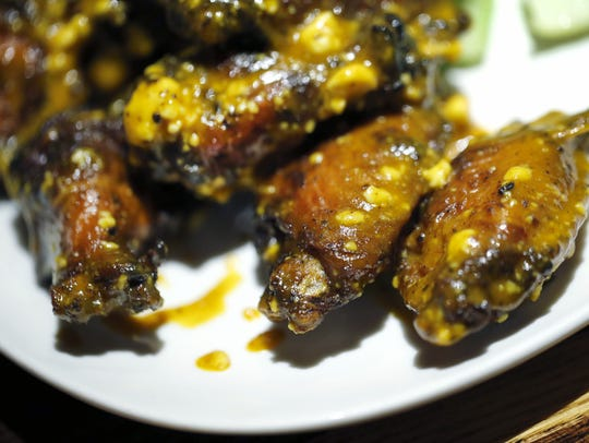 The signature Smoked Blue & Gold Wings at Whiskey River