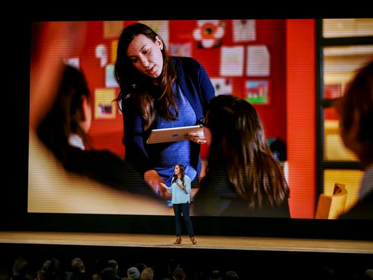 Teacher Kasia Derza of the Mariano Azuela Elementary School in Chicago speaks at Apple's education-focused event at Lane Technical College Preparatory High School on March 27, 2018. Photo by Rodney White, Gannett