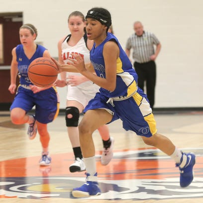 Ontario's A'Sharion Houston dribbles the ball while