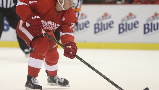 Red Wings forward Dylan Larkin scores Tuesday at Joe Louis Arena.