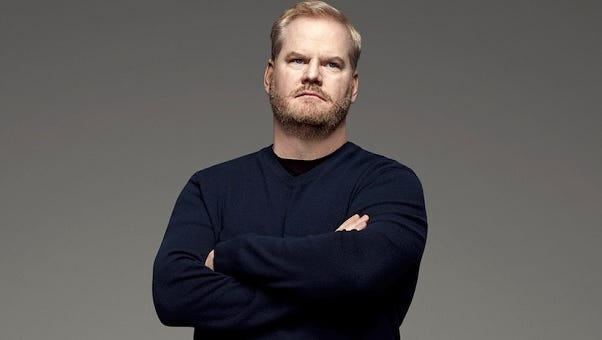 Comedian Jim Gaffigan, who will perform Thursday at Bridgestone Arena, played college football with local attorney Mark North and former Titans assistant and Detroit Lions head coach Jim Schwartz.