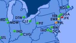 A screenshot of the Federal Aviation Administration's flight delay map shows problems in the mid-Atlantic and Northeast as of 11 a.m. on Dec. 24, 2014.
