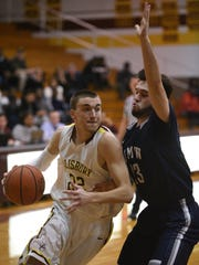 Salisbury's Justin Witmer drives for a shot.