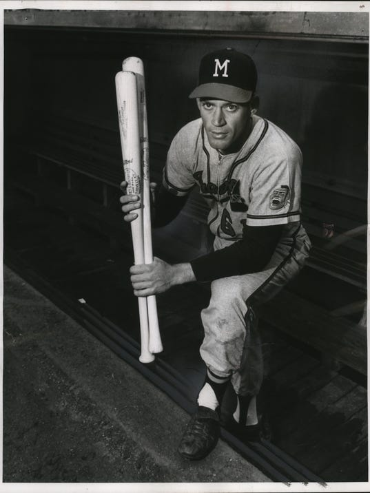 1960 Press Photo Mike Krsnich, first Milwaukeean to play with the Braves.