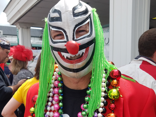 Patrick Bateman went the extra mile at Derby to dress up as a Mexican wrestler.