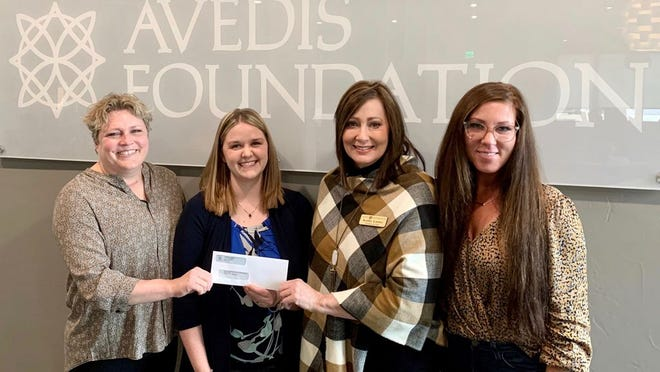 Shown, from left, are Tracy Meeuwsen, Avedis Foundation program director; C.O.C.A.A. Community Grant Writer Sara Dame; Avedis President Dr. Kathy Laster; and Cheyenne Pettigrew, Avedis executive assistant.
