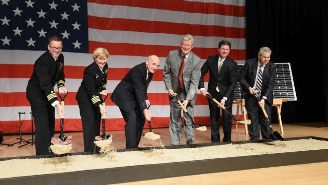 Officials break ground on the Seabee Base in Gulfport.