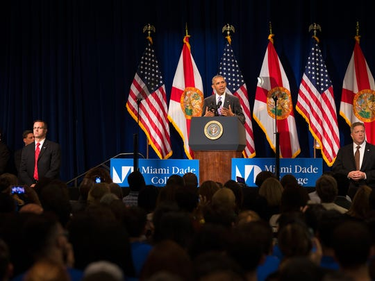 President Barack Obama speaks about the Affordable Care Act at Miami Dade College on Thursday, Oct. 20, 2016, in Miami. Obama spoke to about 600 attendees at the college before campaigning for Hillary Clinton at a separate event in nearby Miami Gardens.