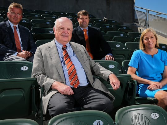 From left: Troy Blackburn, Mike Brown, Paul Brown and Katie Blackburn, pose for a portrait, Tuesday, July 25, 2017, at Paul Brown Stadium in Cincinnati. The Brown family is celebrating 50 years this year as owners of the Cincinnati Bengals franchise.