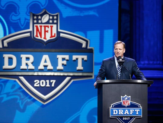 Commissioner of the National Football League Roger Goodell speaks during the first round of the 2017 NFL Draft. Goodell lives in Bronxville.