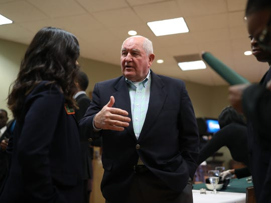 U.S. Secretary of Agriculture Sonny Perdue meets with FAMU students during a visit to the university on Friday, Dec. 8, 2017.