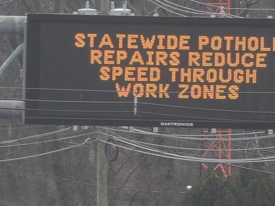 NJ DOT Pothole-filing campaign, motorists alerted along rt23 South. Jan 28, 2017