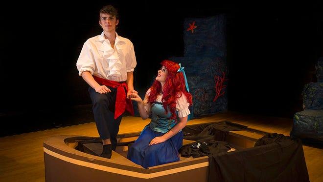 From left, Prince Eric (Alex Furlong) is the love interest of Ariel (Emma Kerr.)