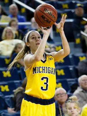 Feb 20, 2016; Ann Arbor, MI, USA; Michigan Wolverines guard Katelynn Flaherty (3) shoots in the first half against the Penn State Lady Lions at Crisler Center.