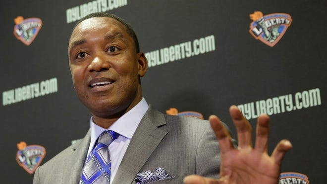 New York Liberty president Isiah Thomas speaking during a news conference in Tarrytown, N.Y., in 2015.