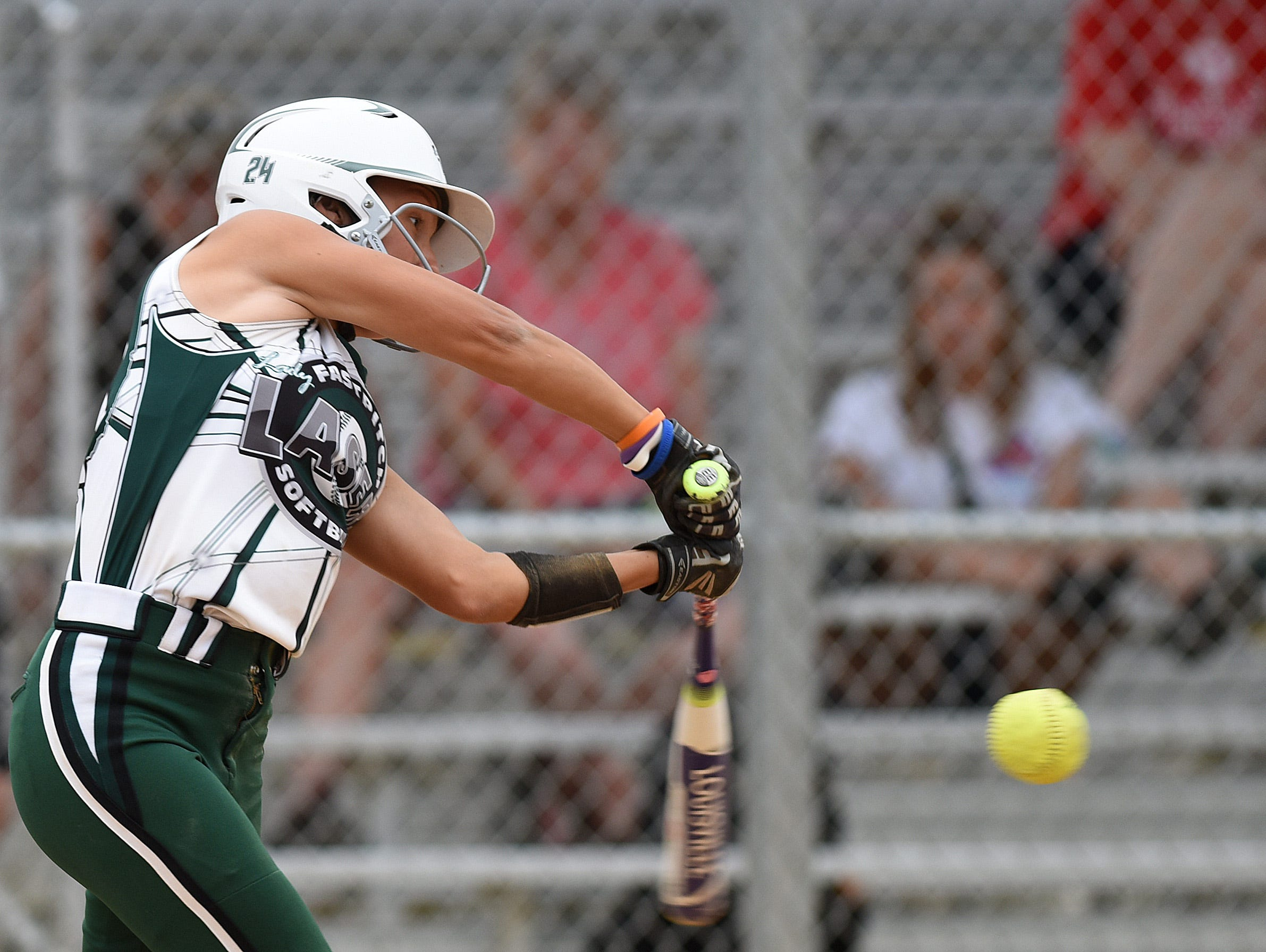 Ohio Lady Lasers Green's #24 Tegan Cortelletti bats against New Lenox Lighting during the ASA 14U national softball tournament at Sherman Park in Sioux Falls, S.D., Monday, Aug. 1, 2016.