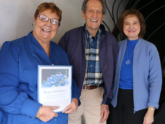 From left, Fran Eriksen, Art Tidey and Esther Siville-Tidey are sharing information about Blue Christmas, a special service at First United Methodist Church this Friday.