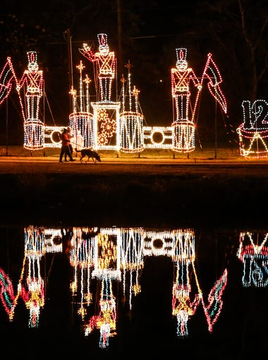 Light displays depict the Twelve Days of Christmas along the Concho River for the Tour of Lights.