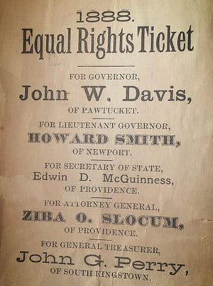 A political flier from the Stokes family's collection of 19th-century equal-rights events in Rhode Island.