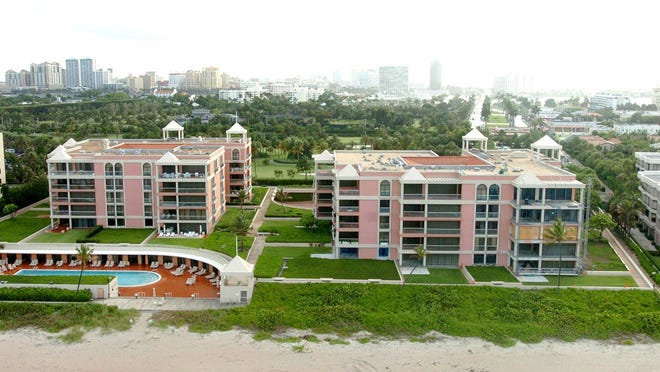 Unit S-41, a three-bedroom condominium, has sold for a recorded $7.675 million on the fourth floor of the south building, at left, at 2 N. Breakers Row in Palm Beach.