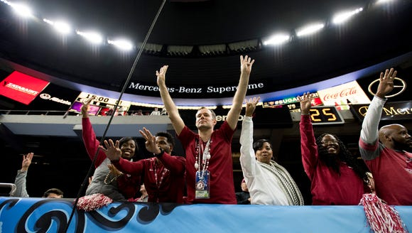 Alabama fans cheer at the start of the fourth quarter