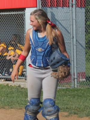 MacKenzie Watson smiles after making a play for Bethel-Tate against St. Bernard May 12.