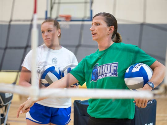 Head coach Melissa Wolter, right, during volleyball practice at the University of West Florida on Monday, August 28, 2017.