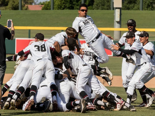 New Mexico State beat Sacramento State 4-3 for the school's first WAC Tournament championship.