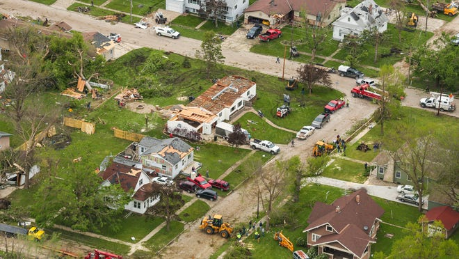 Aerial view of damage in Lake City on Monday morning after a tornado swept through the town Sunday evening.