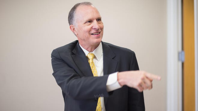 Dr. Rex Gandy, shown during his interview in February, is only days into his tenure as APSU provost and vice president of academic affairs and is already eying ways to improve the university.