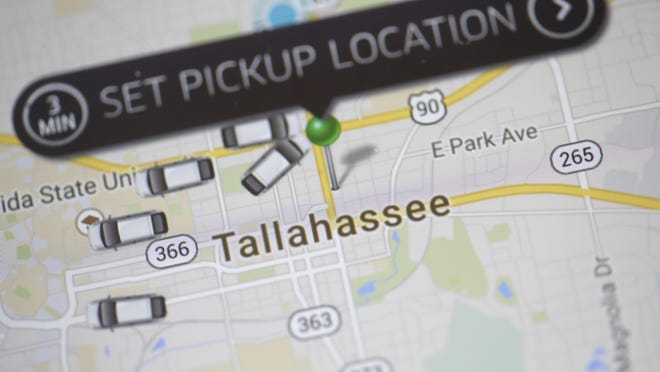 The Uber app allows people to see what cars are available and where they are.