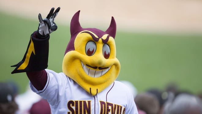 ASU's mascot, Sparky, in Tempe. His likeness on a vanity plate helped make a point in an opinion in the latest Supreme Court decision.