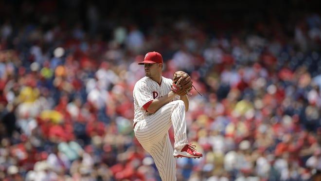 Philadelphia Phillies' Adam Morgan in action during a baseball game against the St. Louis Cardinals, Sunday, June 21, 2015, in Philadelphia. (AP Photo/Matt Slocum)