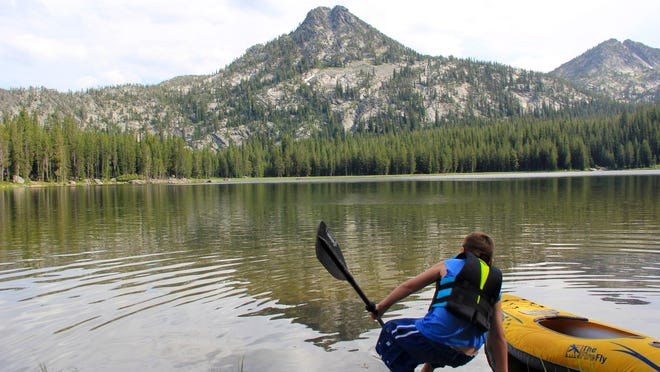 Rylan Peters gets ready to boat out onto Anthony Lake in the Elkhorn Mountains.