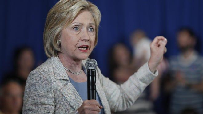 Hillary Clinton speaks in the Reiman Ballroom at Iowa State University Alumni Center in Ames, Sunday, July 26, 2015.