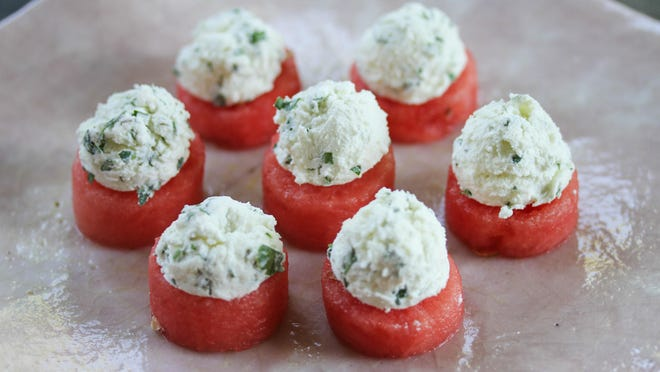 Watermelon and Goat Cheese Bites
