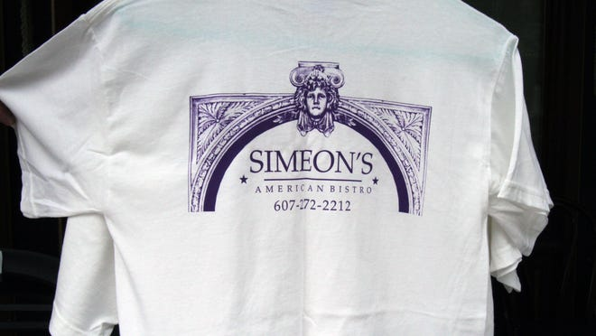 Simeon's T-shirts on sale at the restaurant.