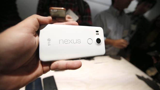 The new Google Nexus 5X models is on display during a Google event on Tuesday in San Francisco.
