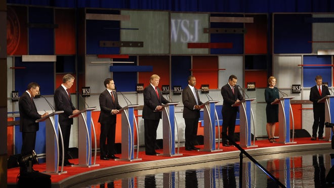 Republican presidential candidates debate in Milwaukee earlier this year.