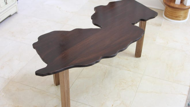Spruce up your home with this customized state-shaped coffee table.