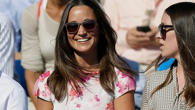 Pippa Middleton, left, at a tennis match at the Queen's Championships in London, June 19, 2015.
