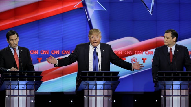 Republican presidential candidates (from left) Marco Rubio, Donald Trump and Ted Cruz clashed during last week's debate.