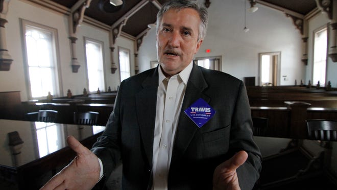 Incumbent First District Congressman Travis Childers, D-Miss., discusses his platform during a visit to the Tate County Courthouse in Senatobia, Miss., Wednesday, Oct. 27, 2010. A first-term congressman, Childers faces a stiff challenge from Republican candidate Alan Nunnelee a state senator from Tupelo for the seat.  (AP Photo/Rogelio V. Solis)