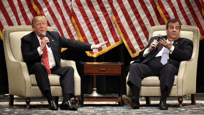 Republican presidential candidate Donald Trump is interviewed by Gov. Chris Christie at a rally at Lenoir-Rhyne University in Hickory, N.C., Monday.