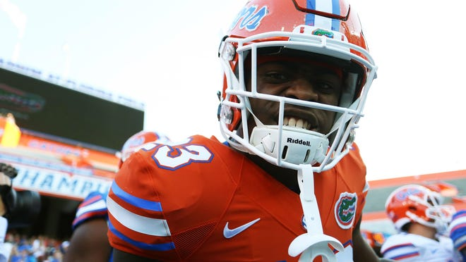 Florida Gators defensive back Chauncey Gardner, Jr. of Cocoa reacts prior to the Orange and Blue game at Ben Hill Griffin Stadium.