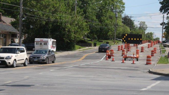 Looking south on Daly Road at Galbraith, cones can be seen directing traffic through a work zone. Starting May 31, the work will move to the north section between Galbraith and Compton Roads.