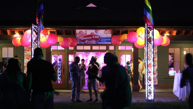 A night scene from last year's Queen City Pride event.
