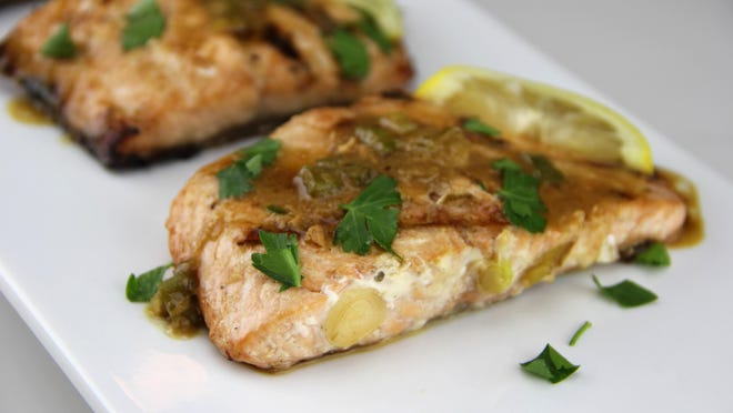Salmon is marinated in pineapple juice.